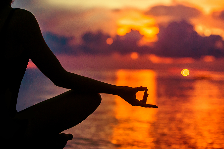 Woman Meditating, Relaxing In Yoga Pose At Sunset, Zen Meditatio